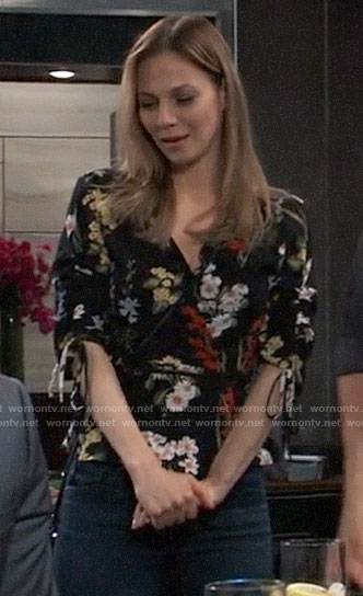 Kim's floral wrap top on General Hospital