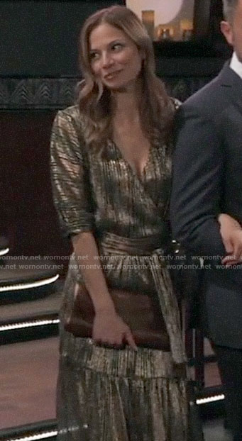 Kim's gold wrap dress on General Hospital
