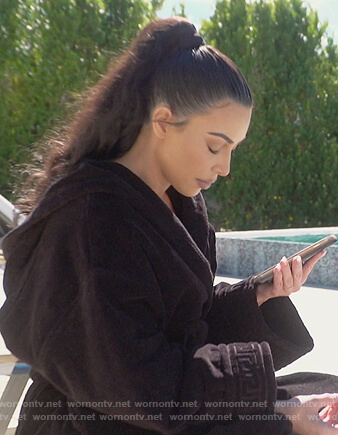 Kim's black bathrobe on Keeping Up with the Kardashians