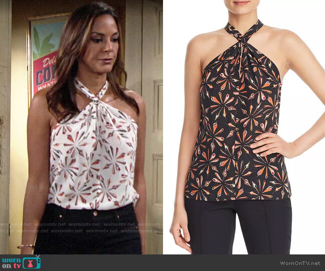 Kobi Halperin Sari Printed Top worn by Celeste Rosales (Eva LaRue) on The Young & the Restless