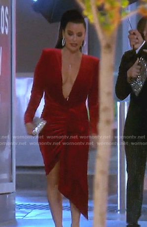 Kyle's red asymmetric plunging dress on The Real Housewives of Beverly Hills