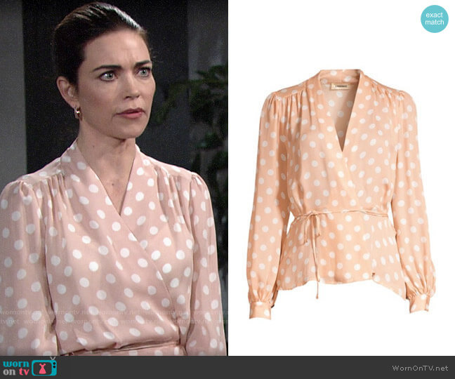 L'Agence Cara Blouse in Petal Polka Dot worn by Victoria Newman (Amelia Heinle) on The Young & the Restless