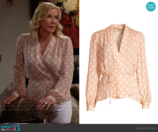 L'Agence Cara Blouse in Petal worn by Brooke Logan (Katherine Kelly Lang) on The Bold & the Beautiful