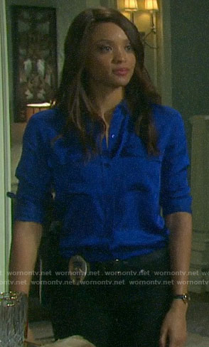 Lani's blue button down blouse on Days of our Lives