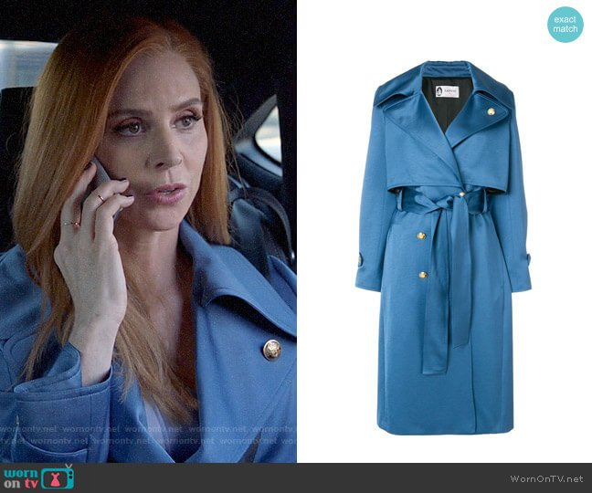 Lanvin Satin Trench Coat worn by Donna Paulsen (Sarah Rafferty) on Suits