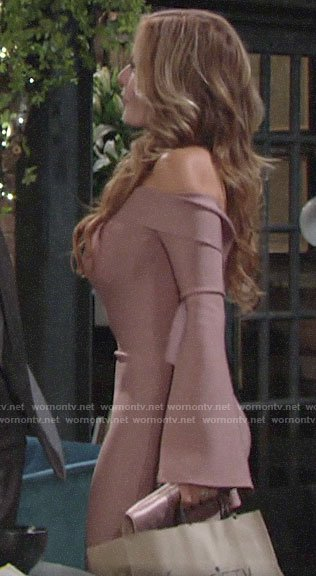 Lauren's pink off-shoulder bell-sleeve dress on The Young and the Restless