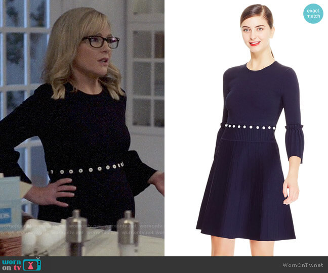 Lela Rose Knit Pleated Skirt Dress worn by Sheila Sazs (Rachael Harris) on Suits
