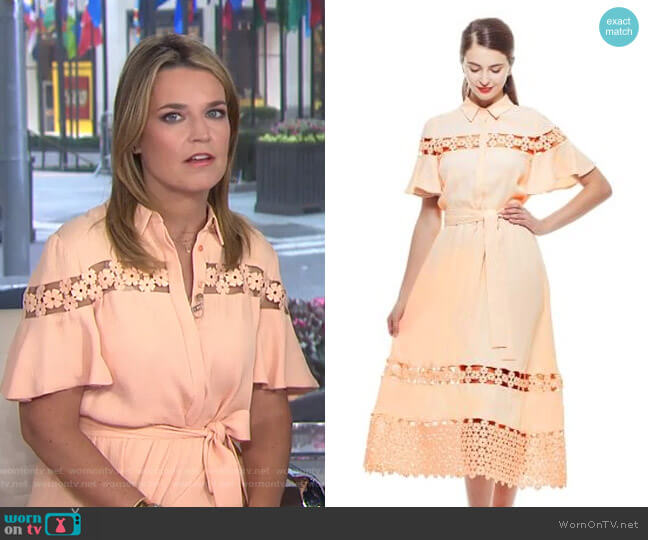 Textured Lace Inset Flutter Sleeve Shirt Dress by Lela Rose worn by Savannah Guthrie  on Today