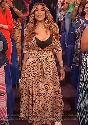 Wendy's leopard print maxi dress on The Wendy Williams Show