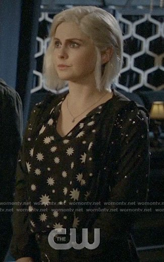 Liv's black and white star print top on iZombie