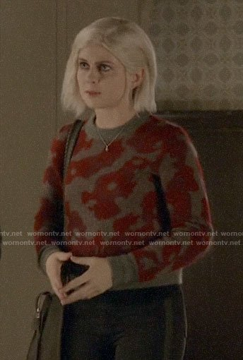 Liv's grey and red printed sweater on iZombie