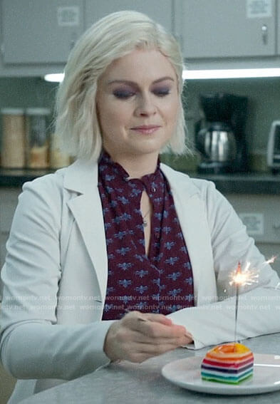 Liv's purple bug print blouse on iZombie