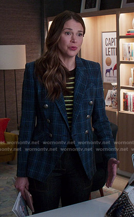 Liza's striped sweater and blue plaid blazer on Younger
