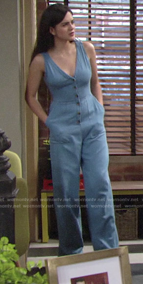 Lola's denim button front jumpsuit for July 4th on The Young and the Restless