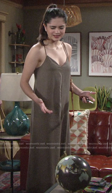 Lola's khaki green loose fitted jumpsuit on The Young and the Restless