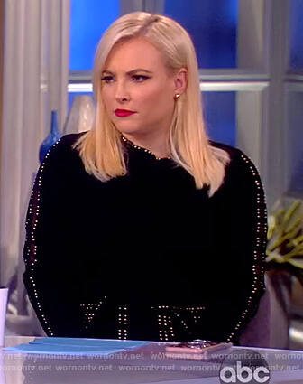 Meghan's black studded trim dress on The View