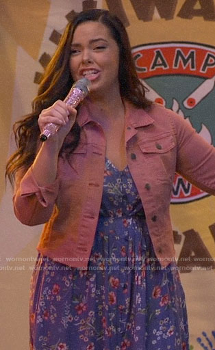 Lou's blue floral dress and pink denim jacket on Bunkd