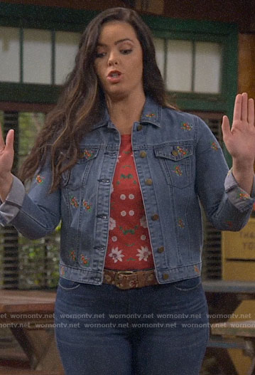 Lou's red floral tee and embroidered denim jacket on Bunkd