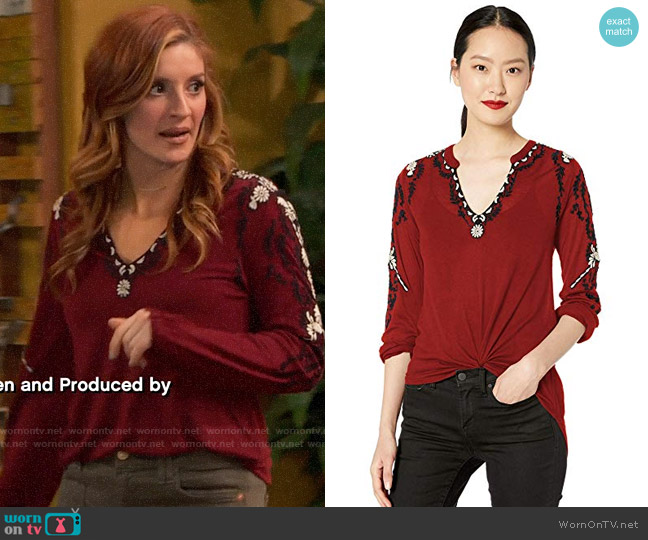 Lucky Brand Embroidered Sleeve Peasant Top worn by Chelsea Grayson (Anneliese van der Pol) on Ravens Home