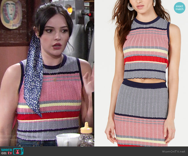 Lucy Paris Kylie Sleeveless Cropped Sweater worn by Tessa Porter (Cait Fairbanks) on The Young & the Restless