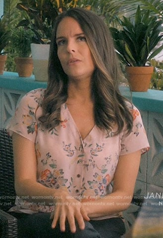 Luisa's pink floral button front top on Jane the Virgin