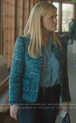 Madeline's blue button down blouse and tweed jacket on Big Little Lies