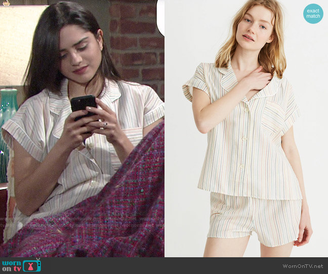Madewell Bedtime Pajama Top and Shorts in Rainbow Stripe worn by Lola Rosales (Sasha Calle) on The Young & the Restless