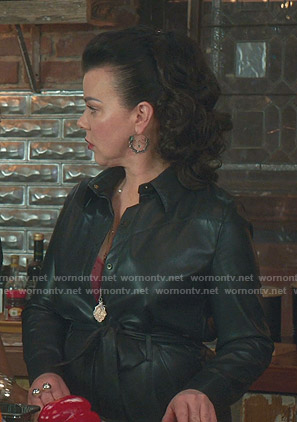 Maggie's black belted leather dress on Younger