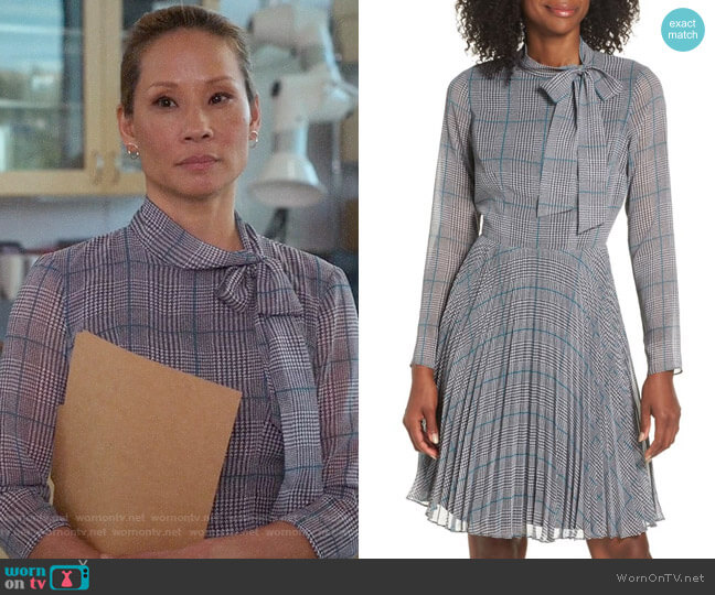 Maggy London Plaid Chiffon Fit and Flare Dress worn by Joan Watson (Lucy Liu) on Elementary