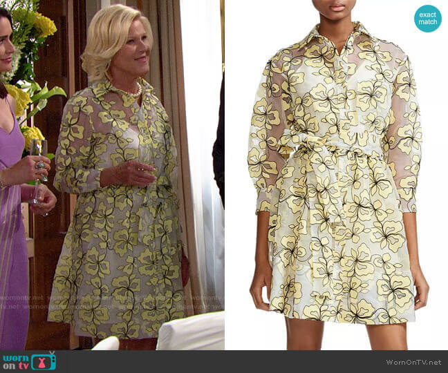 Maje Reality Floral-Embroidered Organza Shirt Dress worn by Pamela Douglas (Alley Mills) on The Bold & the Beautiful