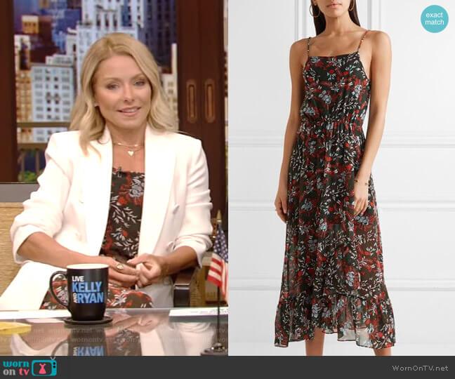 Ruffle-trimmed Printed Chiffon Midi Dress by Maje worn by Kelly Ripa  on Live with Kelly & Ryan