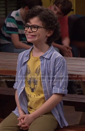 Matteo's yellow fox print tee and striped shirt on Bunkd