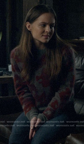 Matty's grey and red printed sweater on Veronica Mars