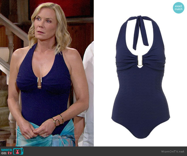 Melissa Odabash Tampa Bar Halter One-Piece Swimsuit worn by Brooke Logan (Katherine Kelly Lang) on The Bold & the Beautiful