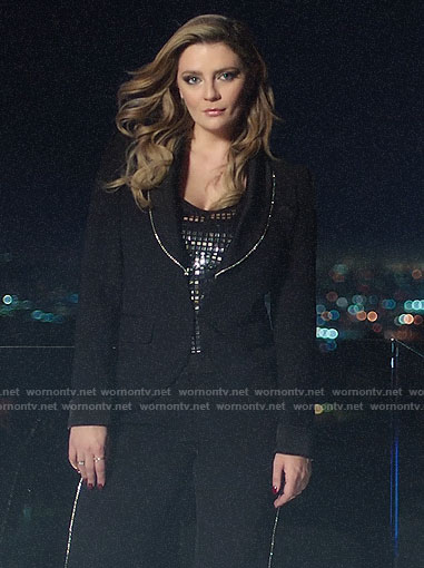 Mischa'a crystal trim suit on The Hills New Beginnings intro