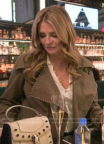 Mischa's brown studded trim coat on The Hills New Beginnings