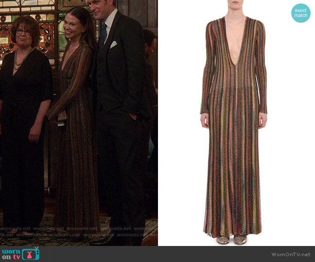 Plunging Long-Sleeve Metallic Striped Long Dress by Missoni worn by Liza Miller (Sutton Foster) on Younger
