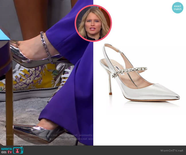 Camoscio Crystal Slingback Pumps by Miu Miu worn by Sara Haines  on Good Morning America