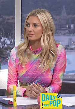 Morgan's tie dye long sleeve top on E! News Daily Pop