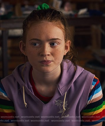 Max's multicolored stripe tee on Stranger Things