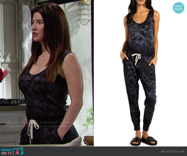 n:Philanthropy Opal Tie Dye Jumpsuit worn by Steffy Forrester (Jacqueline MacInnes Wood) on The Bold & the Beautiful