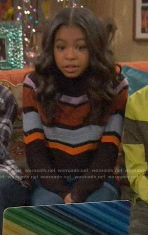 Nia's chevron sweater on Ravens Home