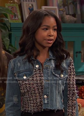 Nia's cropped tweed and denim jacket on Ravens Home