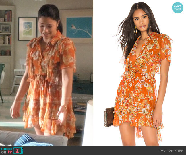 Nicholas Floral Ruffle Cascade Dress worn by Jane Villanueva (Gina Rodriguez) on Jane the Virgin