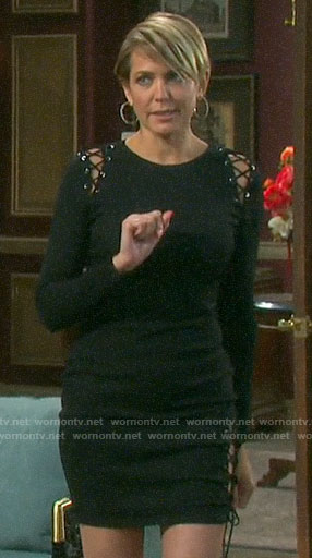 Nicole's black lace-up long sleeved dress on Days of our Lives