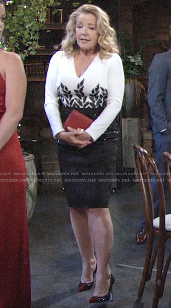 Nikki's black and white embellished long sleeve dress on The Young and the Restless