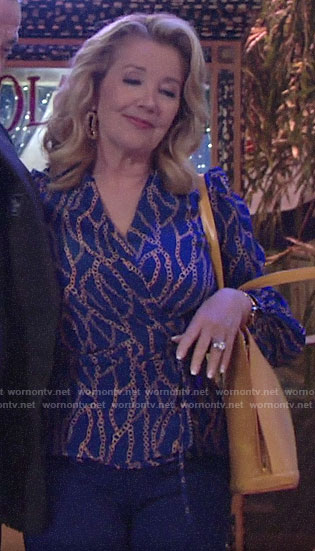 Nikki's blue chain print blouse on The Young and the Restless