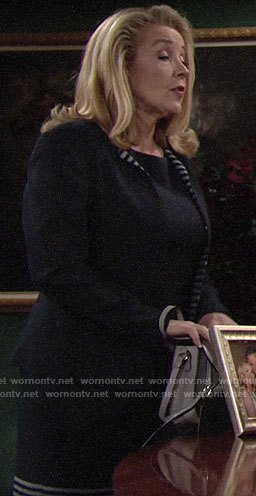 Nikki's striped dress and jacket set on The Young and the Restless