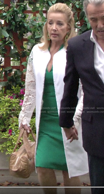 Nikki's white lace coat on The Young and the Restless