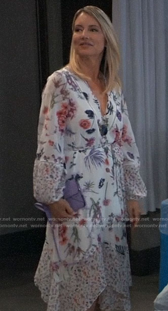Nina's white floral long sleeve dress on General Hospital